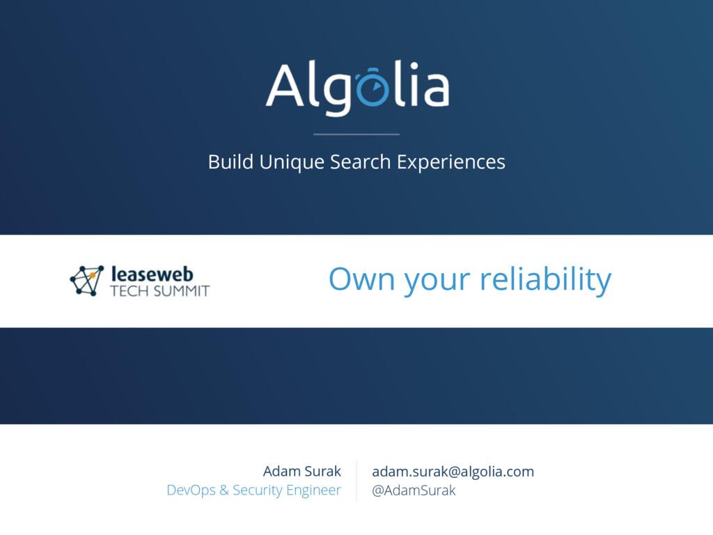 Build Unique Search Experiences Adam Surak DevO...