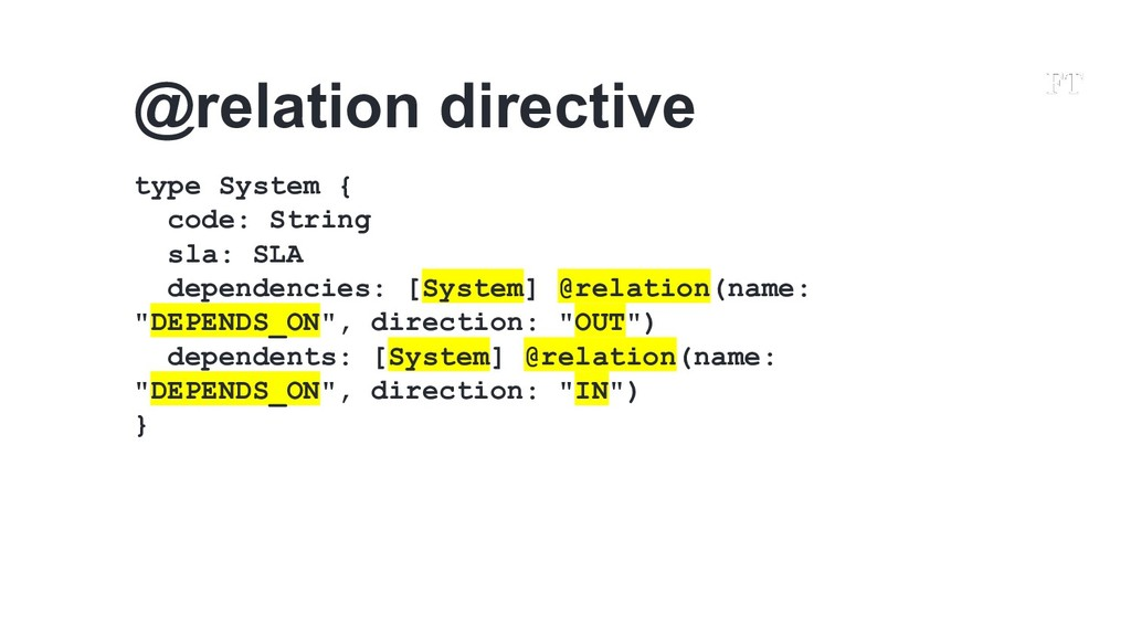 @relation directive type System { code: String ...