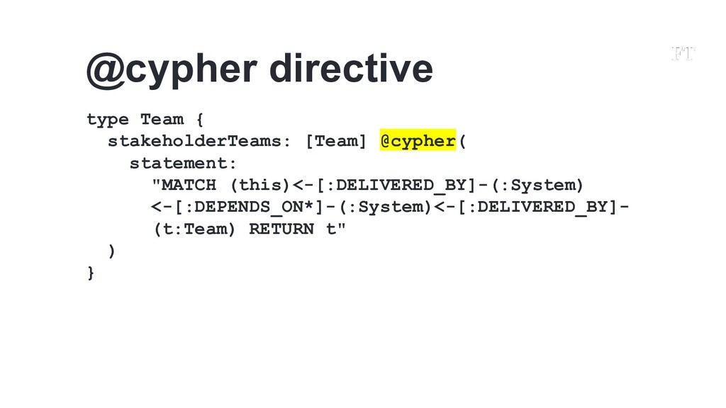 type Team { stakeholderTeams: [Team] @cypher( s...