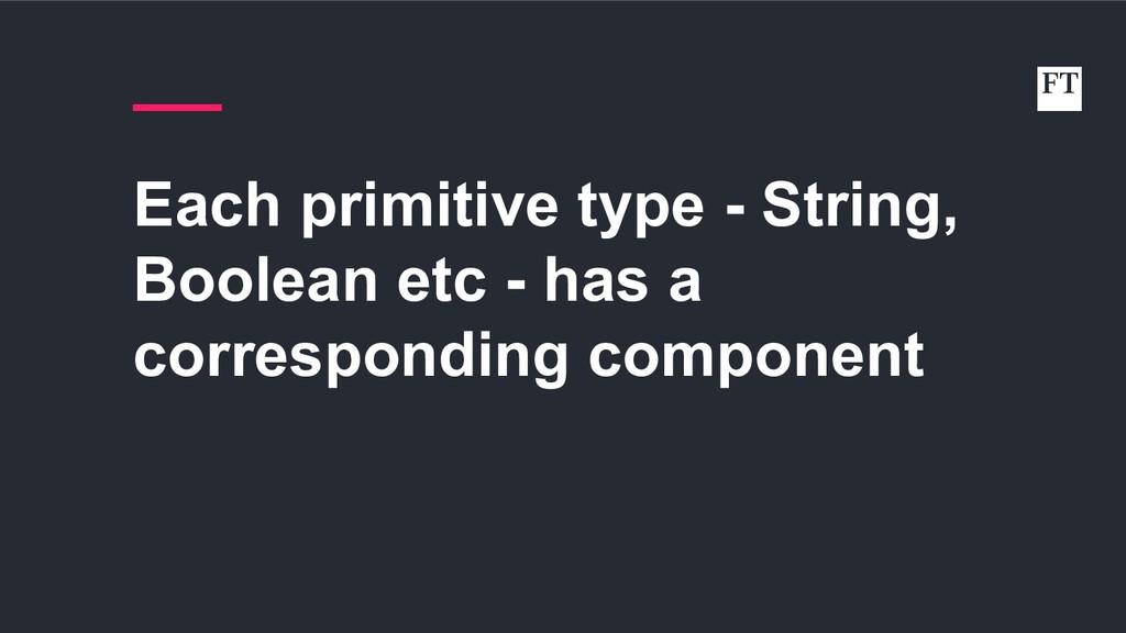 Each primitive type - String, Boolean etc - has...