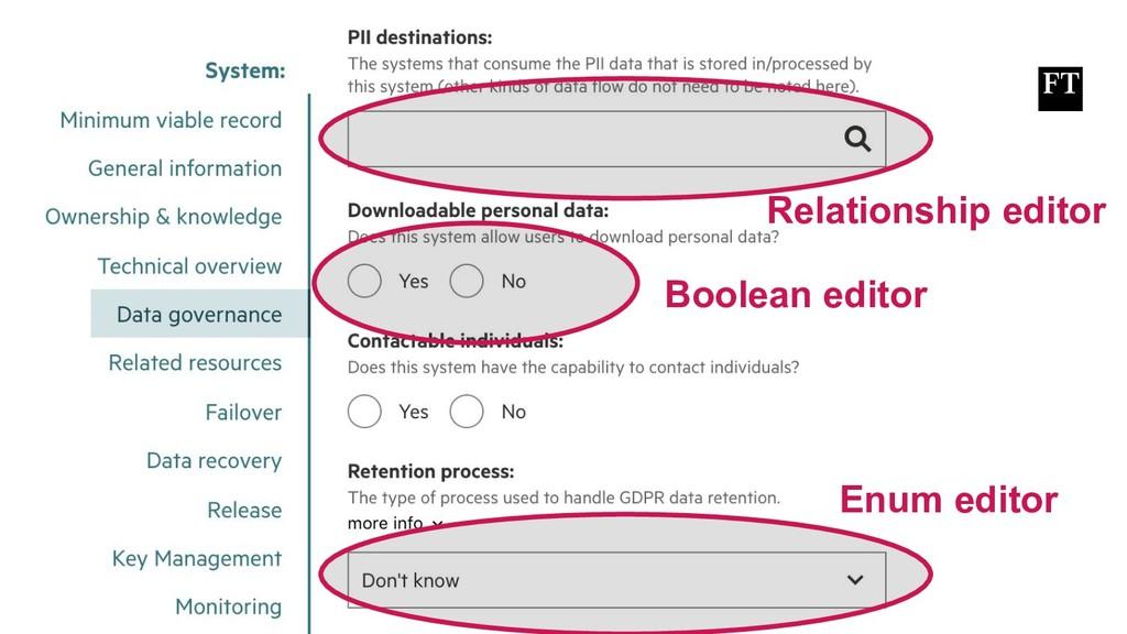 Relationship editor Boolean editor Enum editor