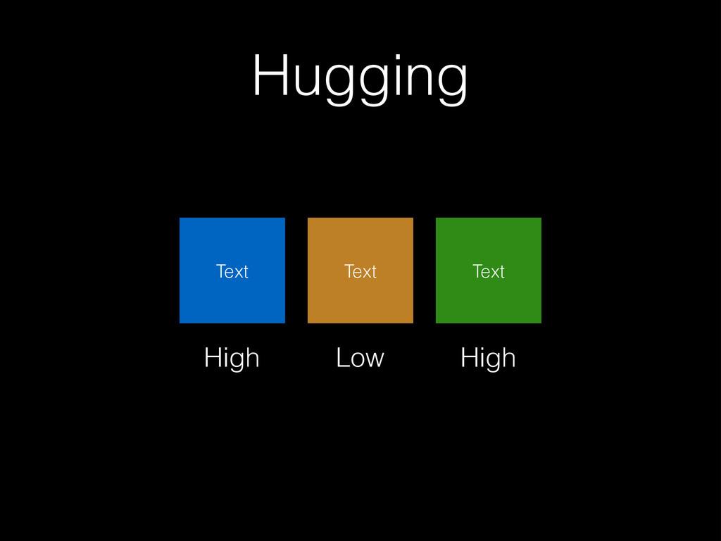 Hugging Text Text Low High High Text