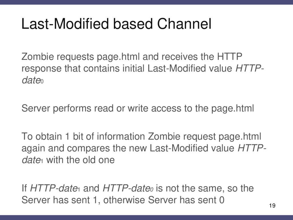 Last-Modified based Channel 19 Zombie requests ...
