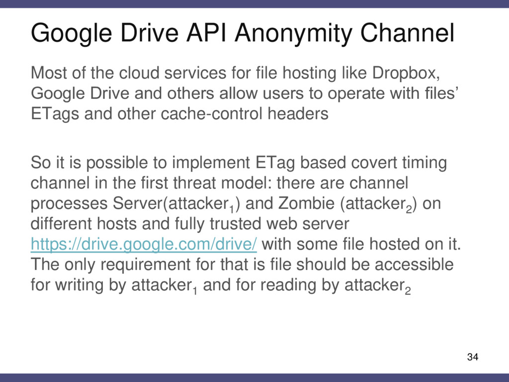 Google Drive API Anonymity Channel 34 Most of t...