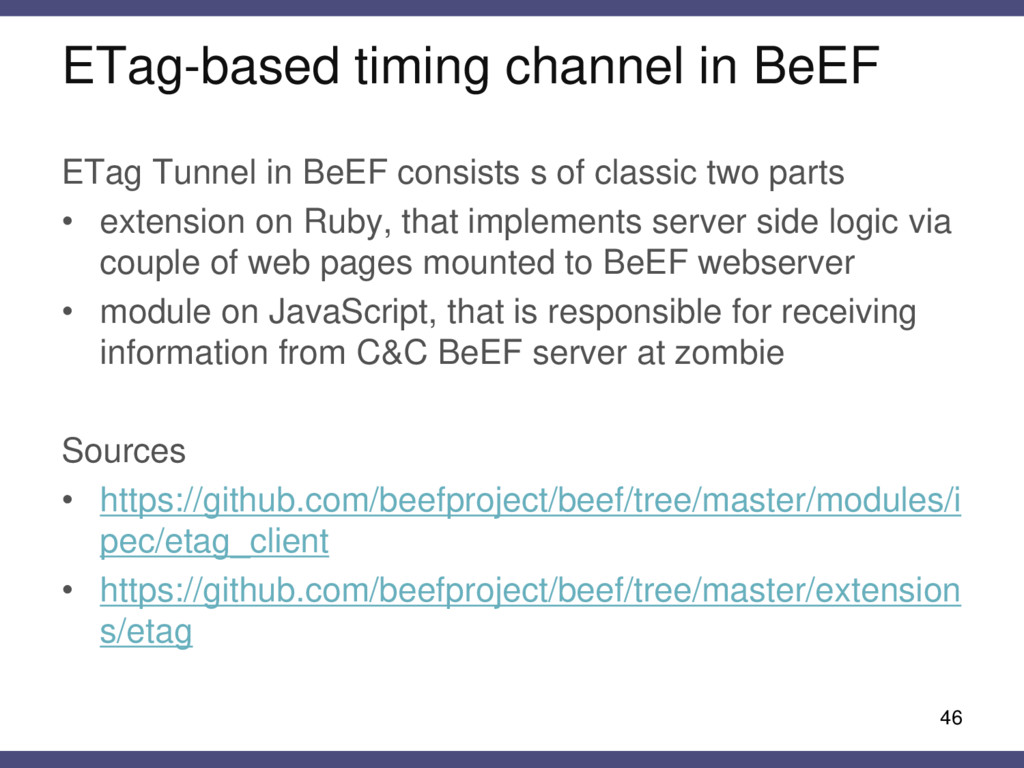ETag-based timing channel in BeEF 46 ETag Tunne...