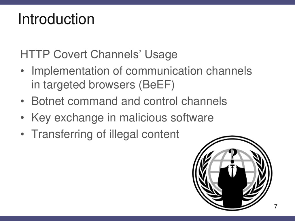 7 HTTP Covert Channels' Usage • Implementation ...