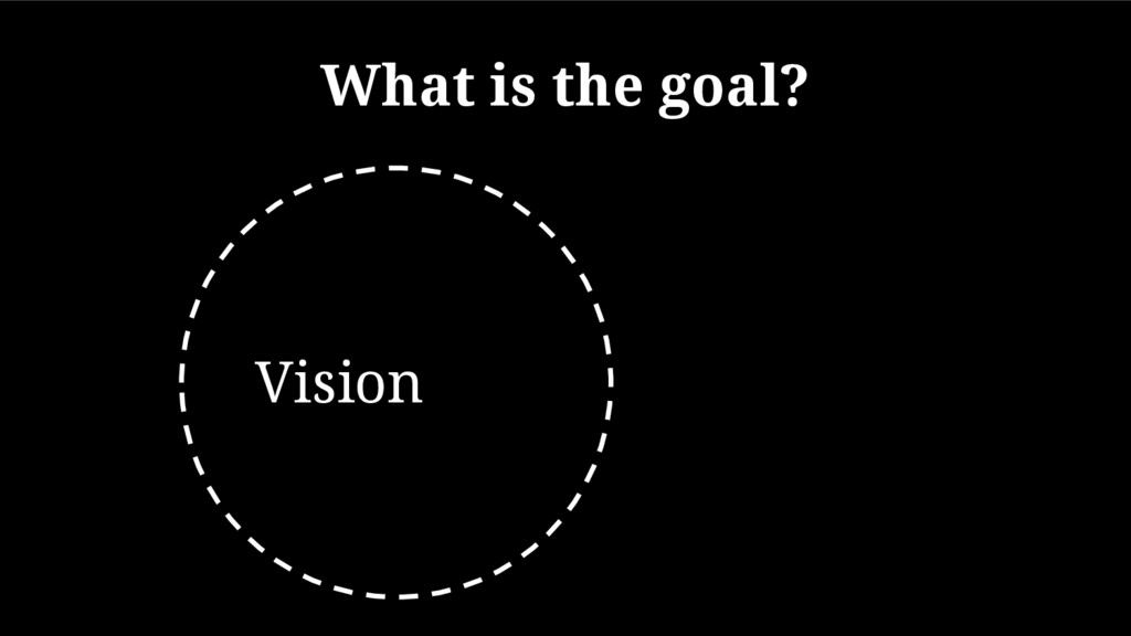 What is the goal? Vision