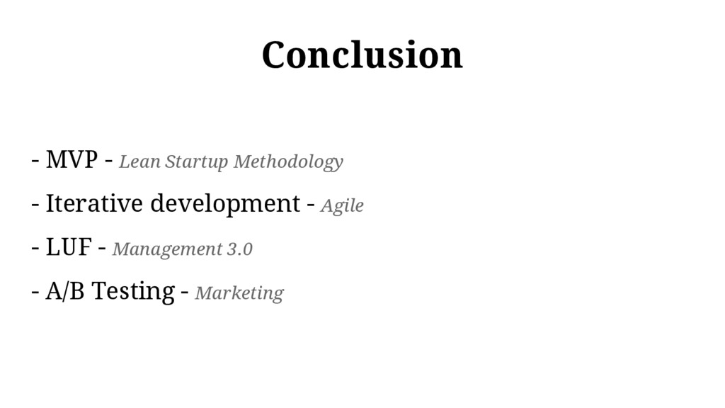Conclusion - MVP - Lean Startup Methodology - I...