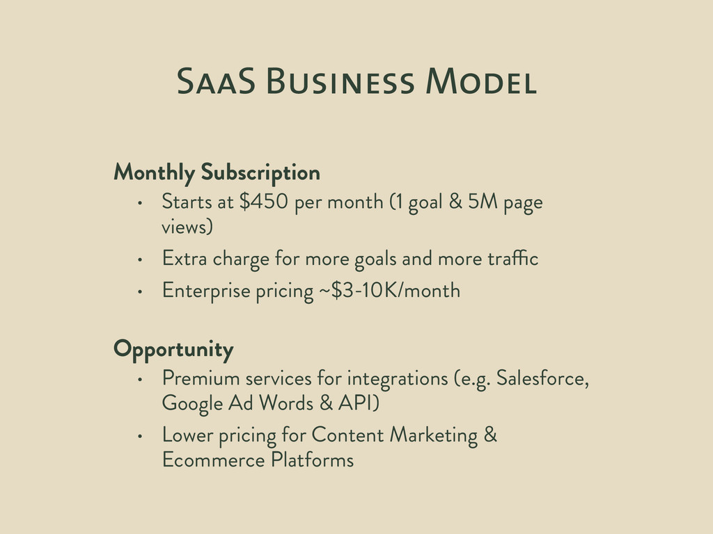 SaaS Business Model Monthly Subscription • Star...