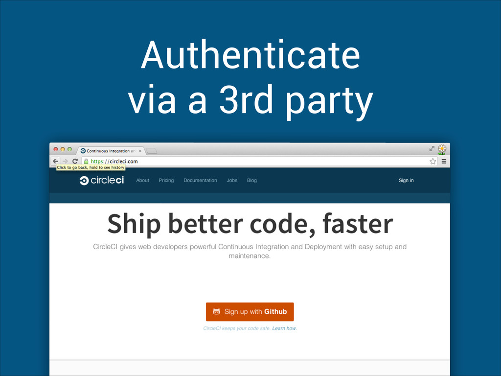 Authenticate via a 3rd party