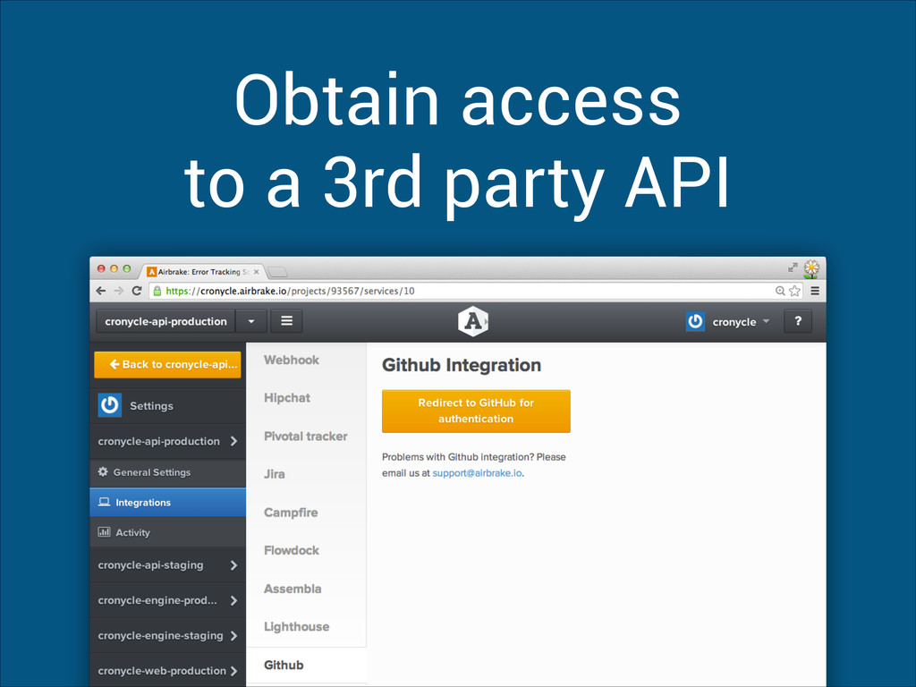 Obtain access to a 3rd party API