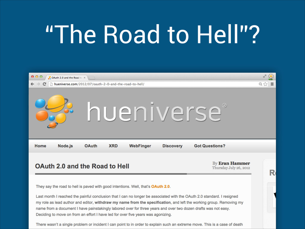"""The Road to Hell""?"
