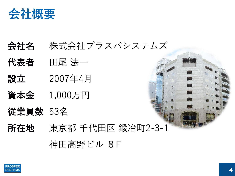 会社概要 株式会社プラスパシステムズ 田尾 法一 2007年4月 1,000万円 53名 東京...