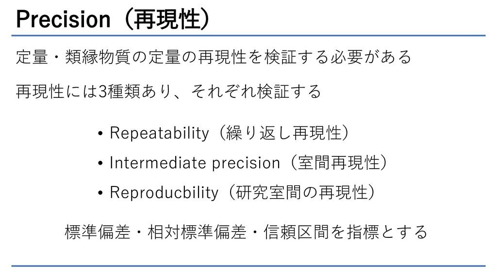 Precision(再現性) 定量・類縁物質の定量の再現性を検証する必要がある 再現性には3種...