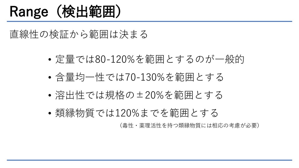 Range(検出範囲) 直線性の検証から範囲は決まる • 定量では80-120%を範囲とするの...