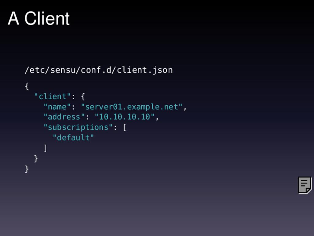 """A Client /etc/sensu/conf.d/client.json { """"clien..."""