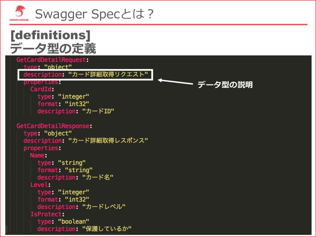 Swagger Specとは? [definitions] データ型の定義 データ型の説明