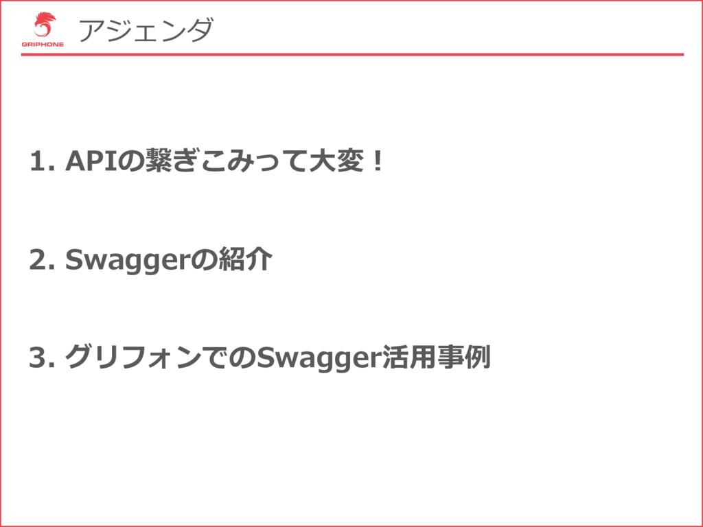 アジェンダ 1. APIの繋ぎこみって⼤変! 2. Swaggerの紹介 3. グリフォンでの...
