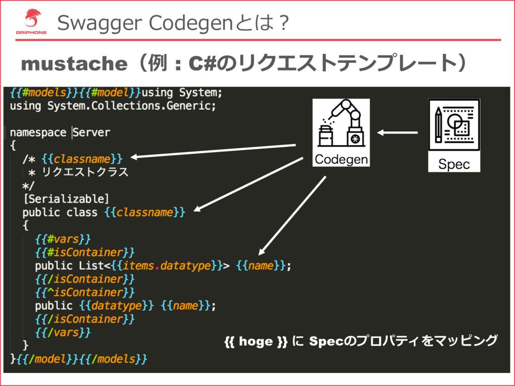 Swagger Codegenとは? mustache(例 : C#のリクエストテンプレート)...