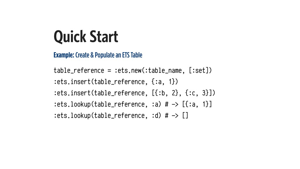 Quick Start Example: Create & Populate an ETS T...