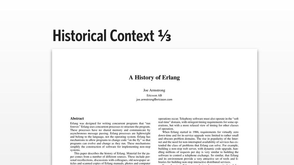 Historical Context A⁄c A History of Erlang Joe ...