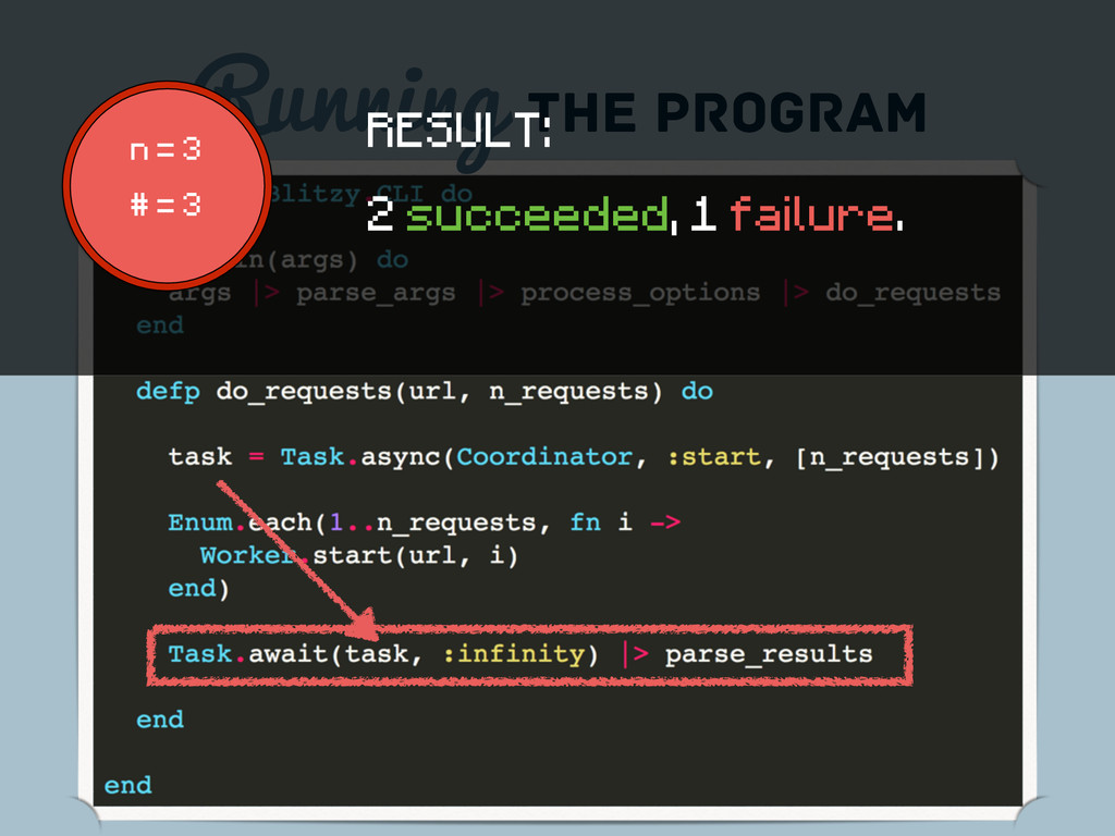 Running the program n = 3 # = 3 RESULT: 2 succe...