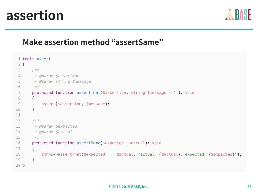 © - BASE, Inc. assertion Make assertion method ...