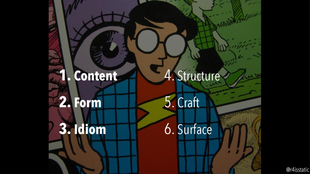 1. Content 2. Form 3. Idiom 4. Structure 5. Cra...