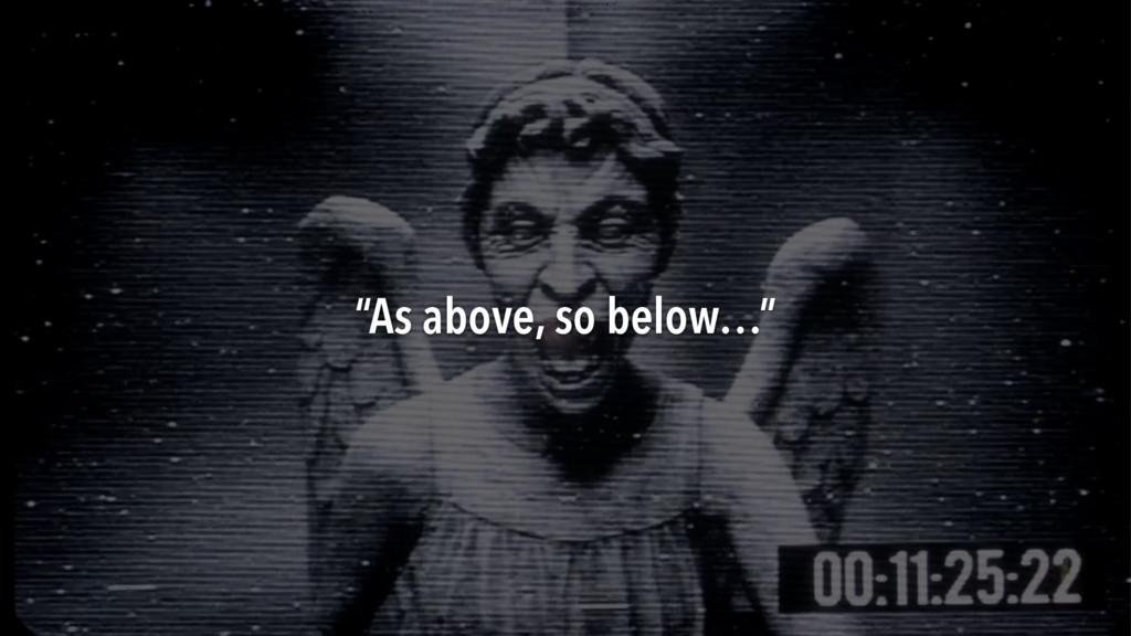 """""""As above, so below…"""""""