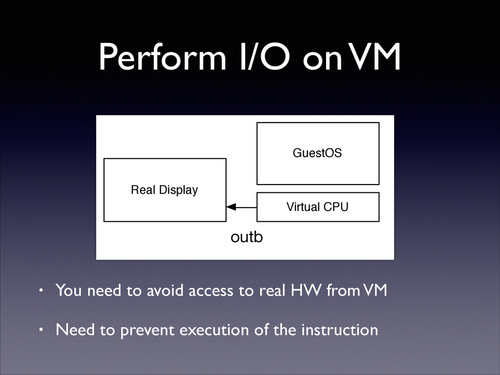 Perform I/O on VM • You need to avoid access to...