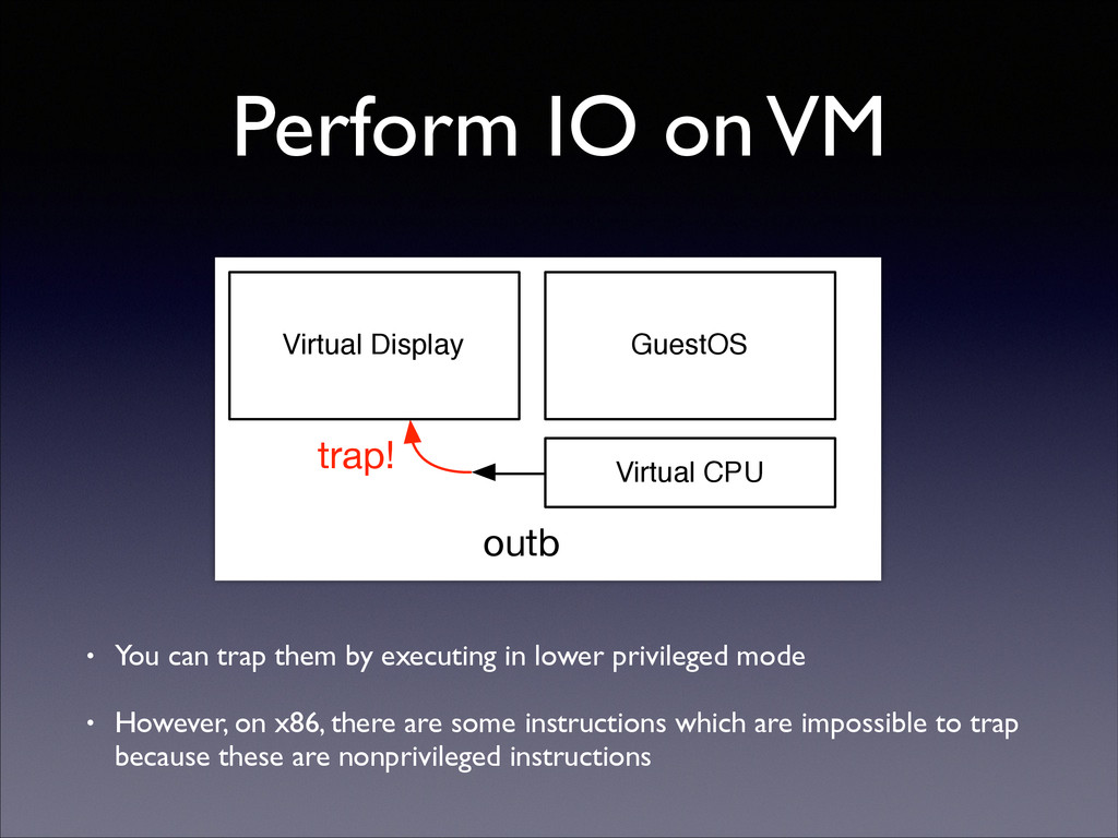 Perform IO on VM • You can trap them by executi...