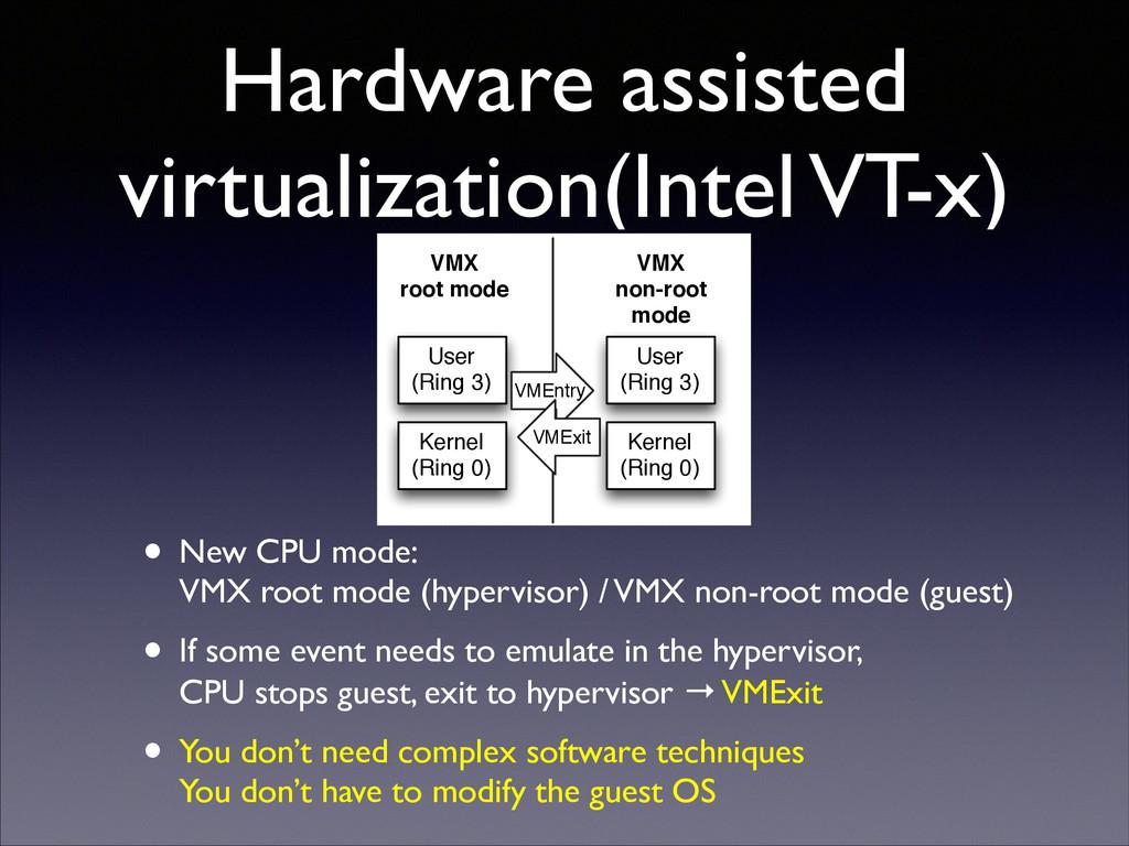 Hardware assisted virtualization(Intel VT-x) • ...