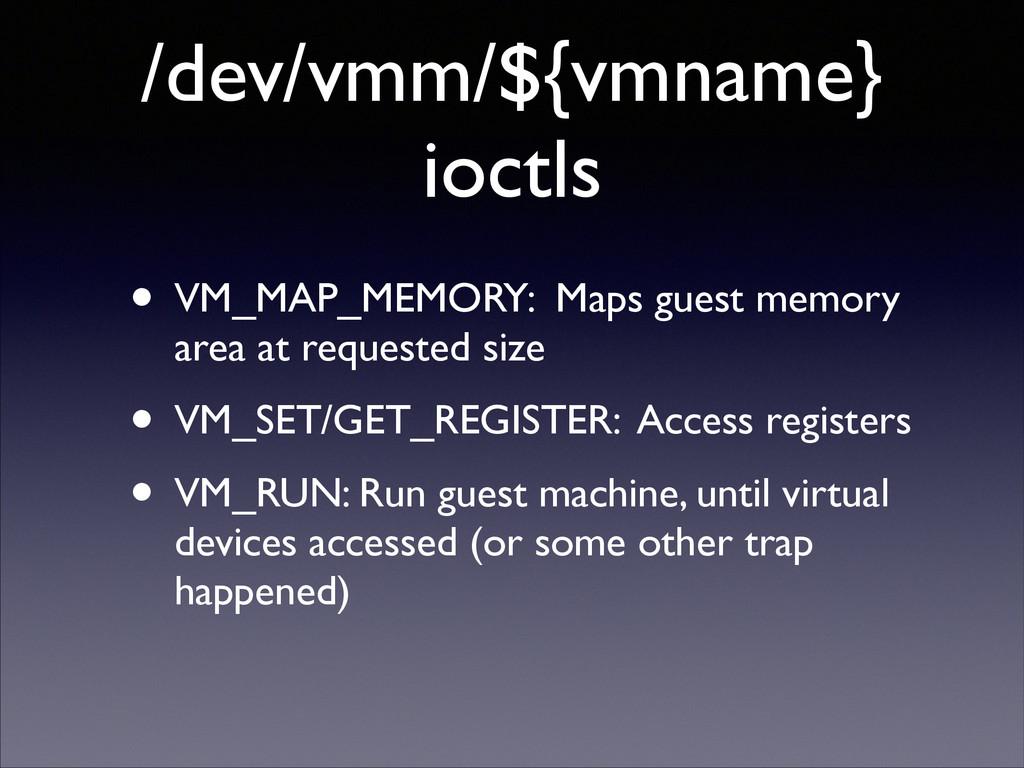 /dev/vmm/${vmname} ioctls • VM_MAP_MEMORY: Maps...