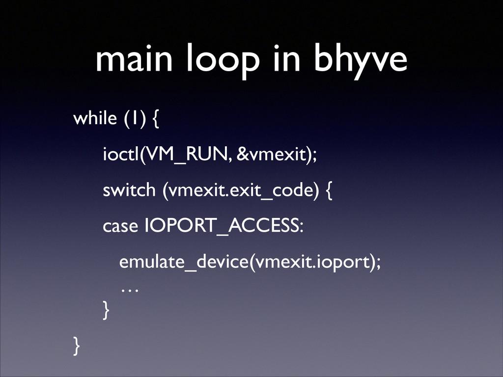 main loop in bhyve while (1) {  ioctl(VM_RUN,...
