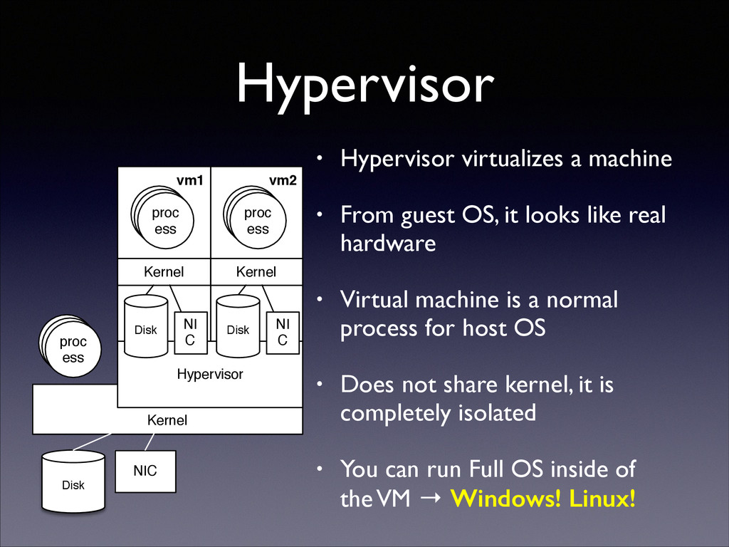 Hypervisor • Hypervisor virtualizes a machine ...
