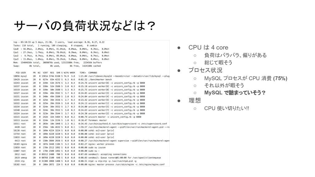 サーバの負荷状況などは? ● CPU は 4 core ○ 負荷はバラバラ、偏りがある ○ 総...