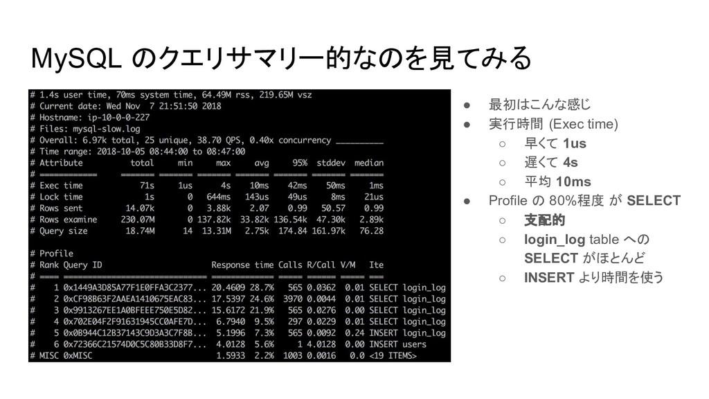 MySQL のクエリサマリー的なのを見てみる ● 最初はこんな感じ ● 実行時間 (Exec ...