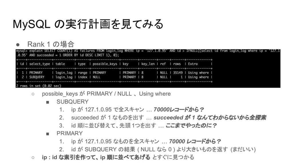 MySQL の実行計画を見てみる ● Rank 1 の場合 ○ possible_keys が...