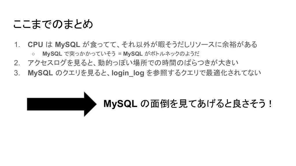 ここまでのまとめ 1. CPU は MySQL が食ってて、それ以外が暇そうだしリソースに余裕...