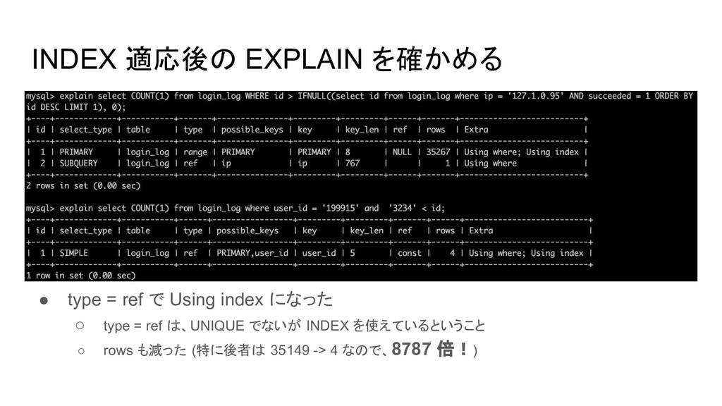 INDEX 適応後の EXPLAIN を確かめる ● type = ref で Using i...