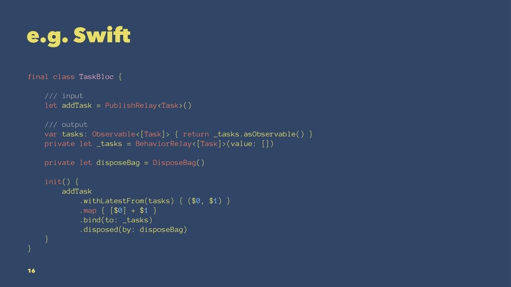 e.g. Swift final class TaskBloc { /// input let...