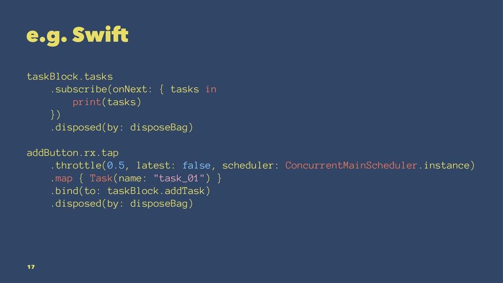 e.g. Swift taskBlock.tasks .subscribe(onNext: {...