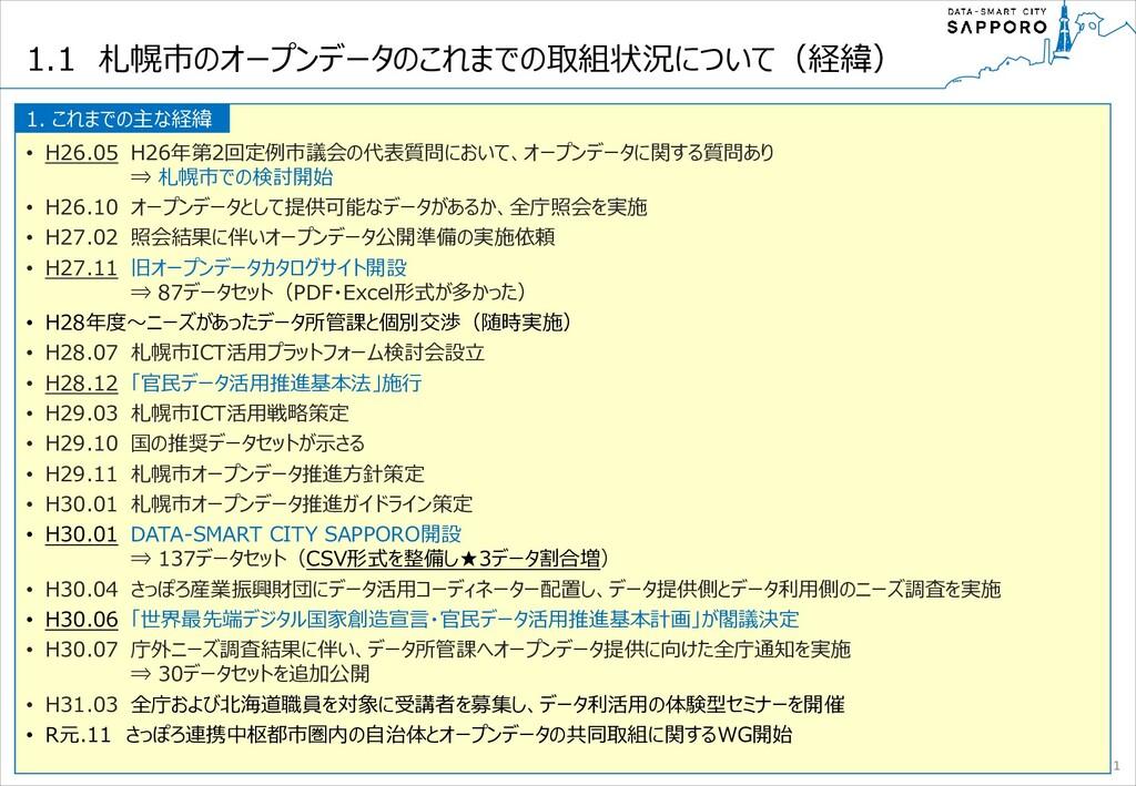 1.1 札幌市のオープンデータのこれまでの取組状況について(経緯) • H26.05 H26年...