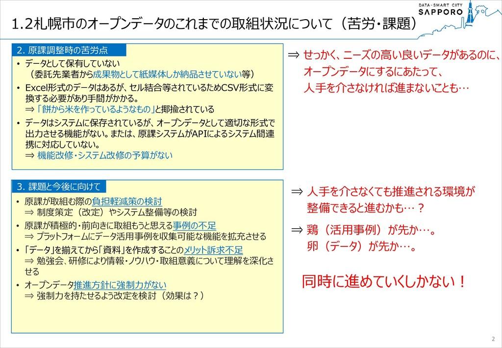 1.2札幌市のオープンデータのこれまでの取組状況について(苦労・課題) •          ...