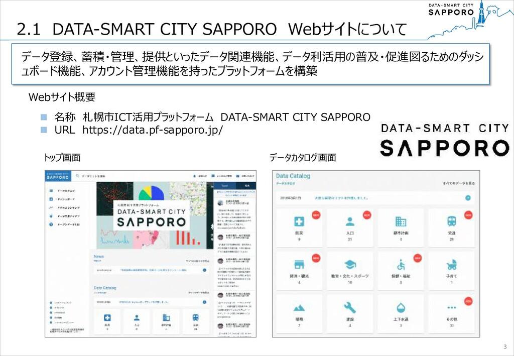 Webサイト概要 トップ画面 データカタログ画面 n 名称 札幌市ICT活用プラットフォーム ...