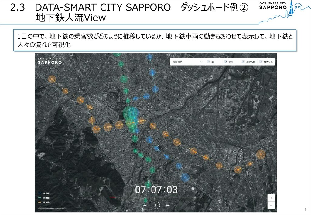 2.3  DATA-SMART CITY SAPPORO  ダッシュボード例② 地下鉄人流Vi...