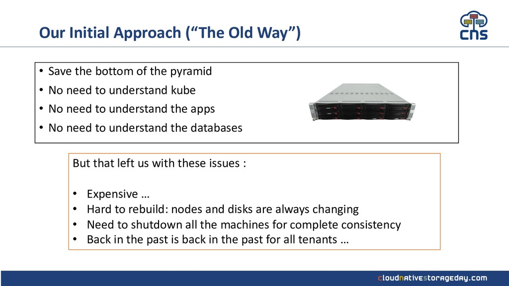 """Our Initial Approach (""""The Old Way"""") • Save the..."""