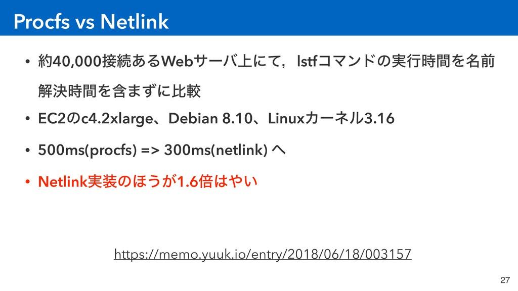 Procfs vs Netlink 27 • 40,000ଓ͋ΔWebαʔό্ʹͯɼlst...