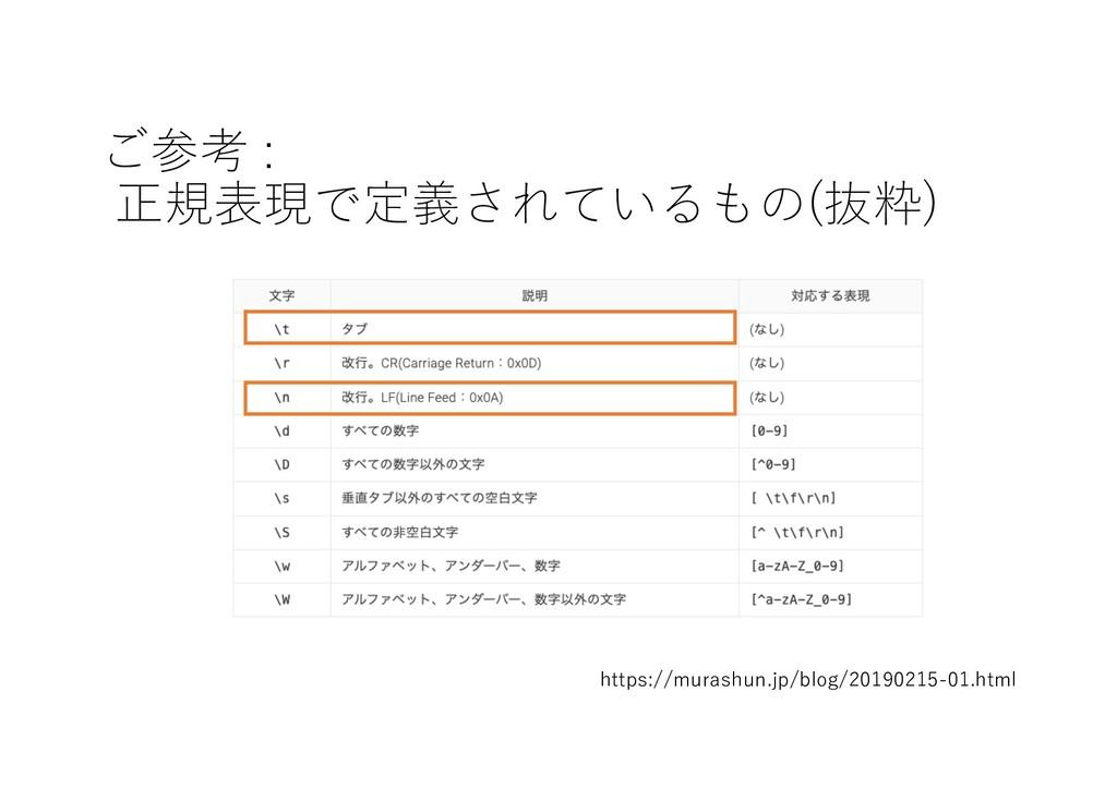 ご参考 : 正規表現で定義されているもの(抜粋) https://murashun.jp/bl...